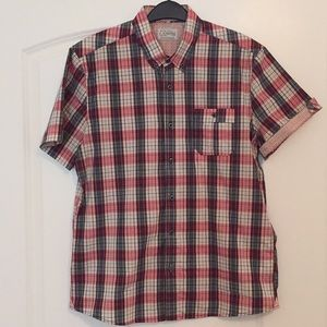 7 Diamonds plaid short sleeve button down
